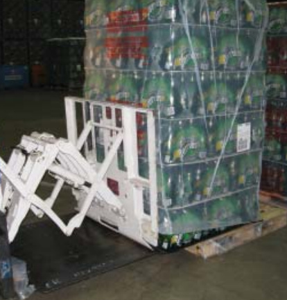 Forklift Pull Push Attachment Use In Beverage Industry